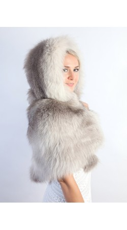 Grey fox fur  shawl with hood